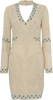 Frock And Frill , Beaded Shift Dress With Choker, Nude