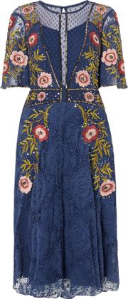 Frock And Frill , Blue Embroidered Skater Dress, Blue