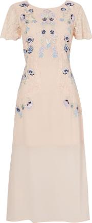 Frock And Frill , Cap Sleeve Dress With Embroided And Lace Detail, Yellow