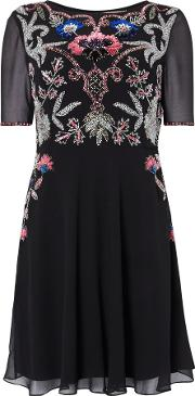 Frock And Frill , Cap Sleeved Midi Dress, Black