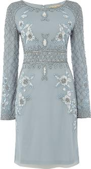 Frock And Frill , Double Layer Pleated Dress, Sky Blue