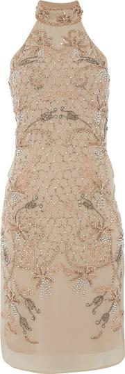 Frock And Frill , Halter Neck Beaded Dress, Nude