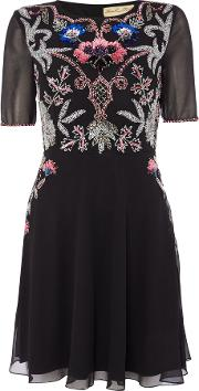 Frock And Frill , Long Sleeved Embellished Fit And Flare Dress, Black