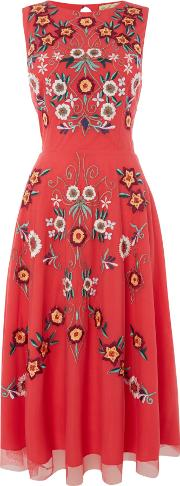 Frock And Frill , Red Embroidered Shift Dress, Red