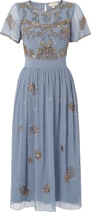 Frock And Frill , Sequin Short Sleeved Midi Dress, Grey