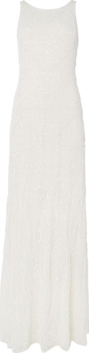 Frock And Frill , Short Sleeved Fully Embellished Gown, White