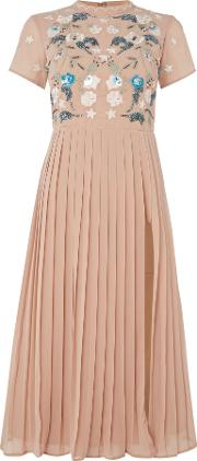 Frock And Frill , Short Sleeved High Neck Midi Dress, Blush
