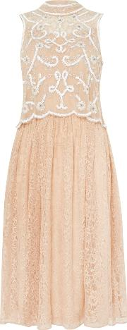Frock And Frill , Sleeveless Arien Two Tiere Dress, Nude