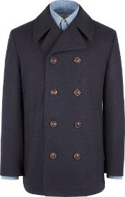 Gibson , Men's  Navy Double Breasted Melton Coat, Blue