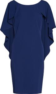 Gina Bacconi , Moss Crepe Dress With Cape Detail, Blue