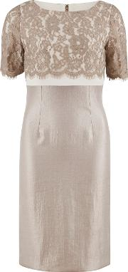 Gina Bacconi , Scallop Flower Lace And Shimmer Dress, Oyster