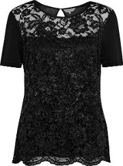 Great Plains , In The Mix Lace T Shirt, Black