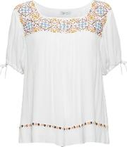 Great Plains , Morocco Stitch Embellished Top, White