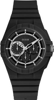 Guess , W0942l2 Ladie S Silicone Strap Watch, Black