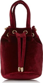Head Over Heels , Head Over Heels Borough Small Velvet Bucket Bag, Red