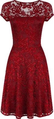 Hotsquash , Lace Fit N Flare Dress With Thermal Lini, Red