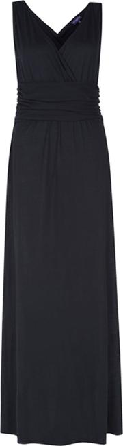 Hotsquash , V Neck Maxi Dress In Coolfresh Fabric, Black