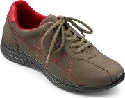 Hotter , Solar Ladies Lace Up Active Trainers, Khaki