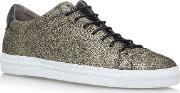Hudson London , Racquet Flat Lace Up Sneakers, Gold