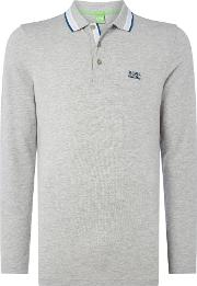 Hugo Boss , Men's  Oxford Long Sleeve Polo, Grey Marl
