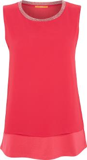 Hugo Boss , Topia Embellished Neck Blouse In Bright Pink, Pink