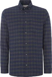 Jack & Jones , Men's  Check Long Sleeve Cotton Shirt, Navy