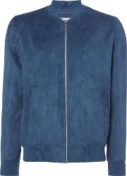 Jack & Jones , Men's  Howard Faux Suede Bomber, Blue