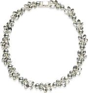 Jacques Vert , Jacques Vert Pearl Crystal Collar Necklace, Light Grey