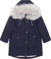 Jigsaw , Girls Faux Fur Luxe Parka, Blue