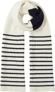 Jigsaw , Islay Breton Stripe Knit Scarf, Blue