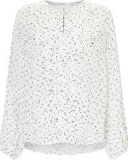 Jigsaw , Multi Spot Open Neck Blouse, Cream