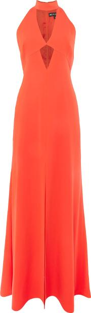 Jill Jill Stuart , V Neck Cut Out Gown With Neck Tie, Tangerine