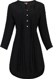 Jolie Moi , Button Front Pleated Tunic, Black