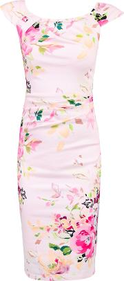Jolie Moi , Floral Print Ruched Wiggle Dress, Pink