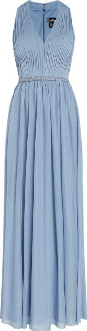 Js Collections , Halter Neck Gown With Pleated Front, Blue