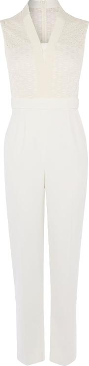 Karen Millen , Tailoring And Lace Jumpsuit, Ivory