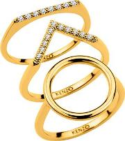 Kenzo , 24909010805 Gold Plated And Cz Ring, Gold Metallic