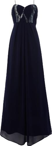 Lace And Beads , Bandeau Beaded Top Maxi Dress, Navy