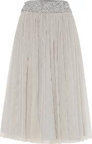 Lace And Beads , Embellished Waistband Midi Skirt, Grey