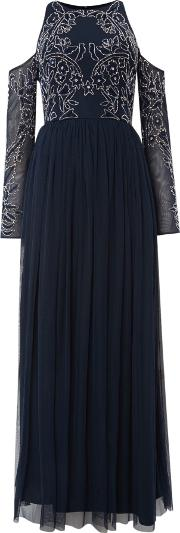 Lace And Beads , Maxi Dress With Cold Shoulder, Blue
