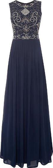 Lace And Beads , Open Back Maxi Dress, Navy