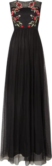 Lace And Beads , Sheer Embroidered Sleeveless Maxi Dress, Black