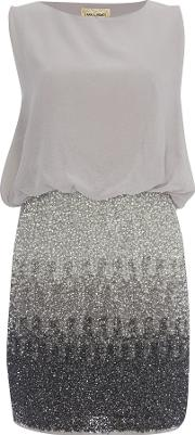 Lace And Beads , Sleeveless Blouson Top Ombre Sequin Skirt Dress, Grey