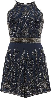 Lace And Beads , Sleeveless Embellished Playsuit, Navy