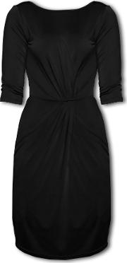 Lavand , Jersey Dress With Gathered Effect, Black