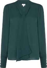 Linea , Cold Sleeve Pussy Bow Blouse, Forest Green