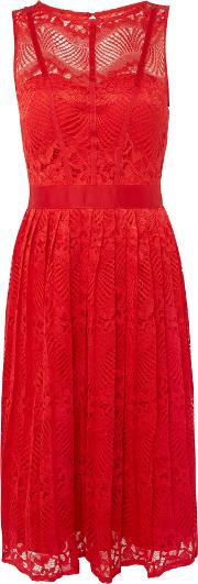 Little Mistress , Fit And Flare Lace Midi Dress, Red