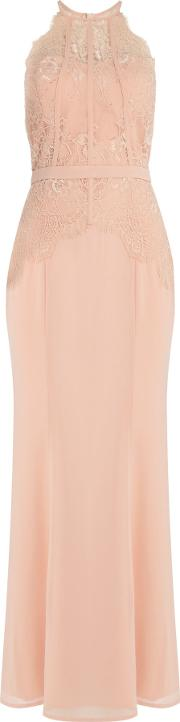 Little Mistress , Maxi Dress With Lace Top, Nude