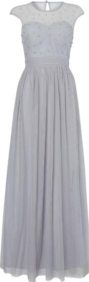 Little Mistress , Mesh Top Maxi Dress With Cap Sleeves In Grey., Blue