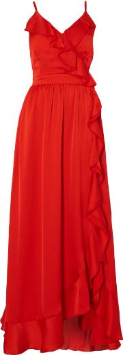 Little Mistress , Sleeveless Maxi Dress With Frill Detail, Red
